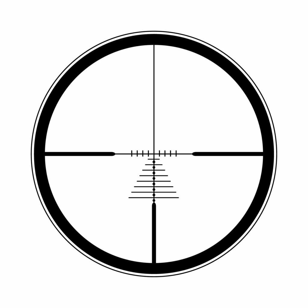 Reticolo Magnum Balistico.    Per i grossi calibri, con riferimenti ravvicinati (2cm tra loro a 100m)