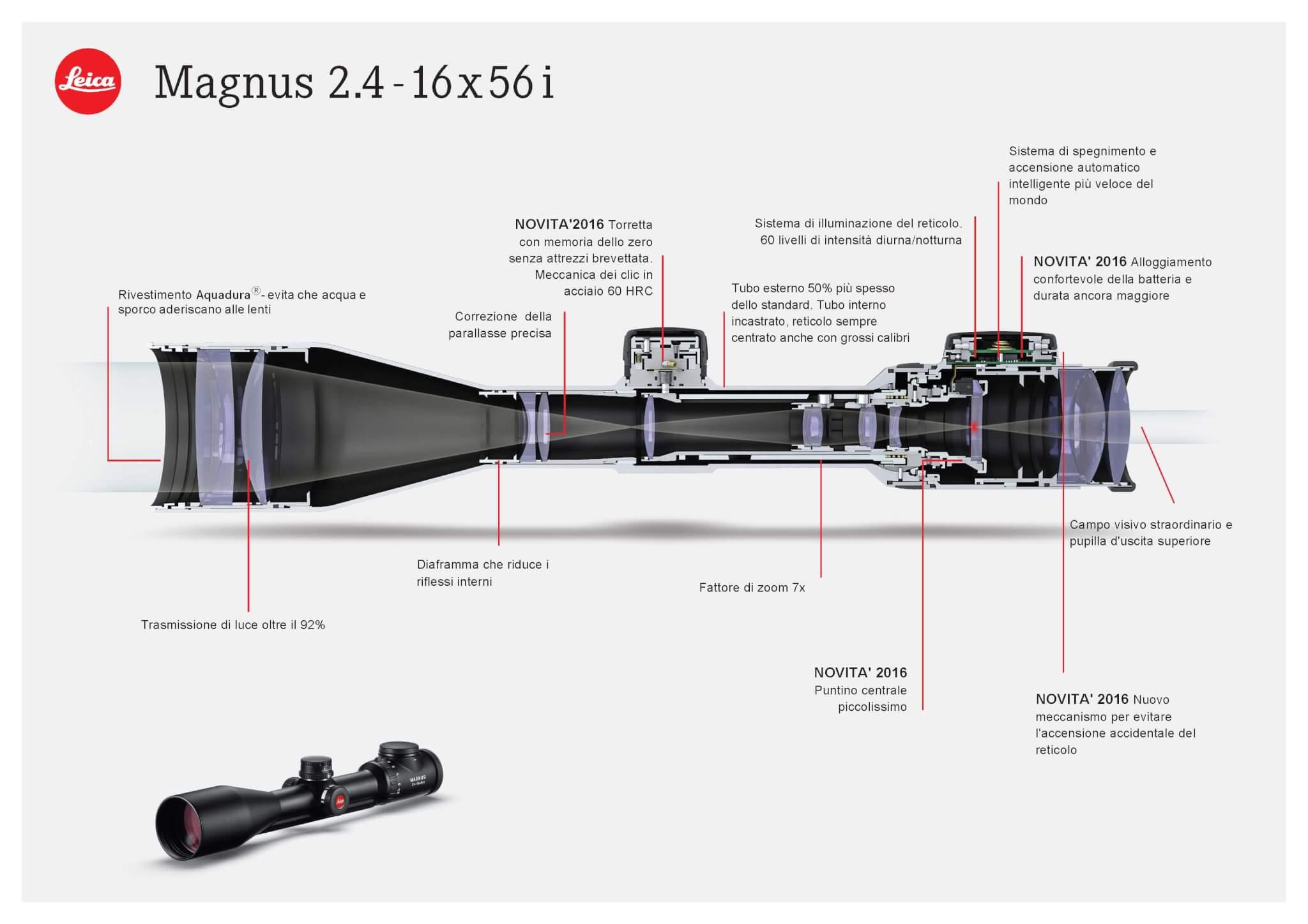 """Il Magnus """"i"""", qui nel modello da 56mm di obiettivo, con le novità e tutte le caratteristiche di eccellenza già presenti nella serie Magnus"""