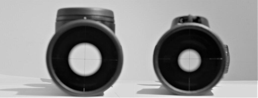 A sinistra, la pupilla d'uscita del Leica Magnus i 1-6.3x24 a destra quella dello Swarovski Z8i 1-8x24, entrambi al minimo ingrandimento. Se la pupilla del cacciatore non cade esattamente al centro della mira, con il Magnus l'acquisizione del bersaglio risulterà molto più rapida e la sensazione di non avere tra gli occhi e la mira altro che il reticolo col puntino illuminato molto più evidente. La pupilla del Fortis 6i 1-6x24 a ingrandimento minimo è identica a quella del Magnus i: 12.4mm.