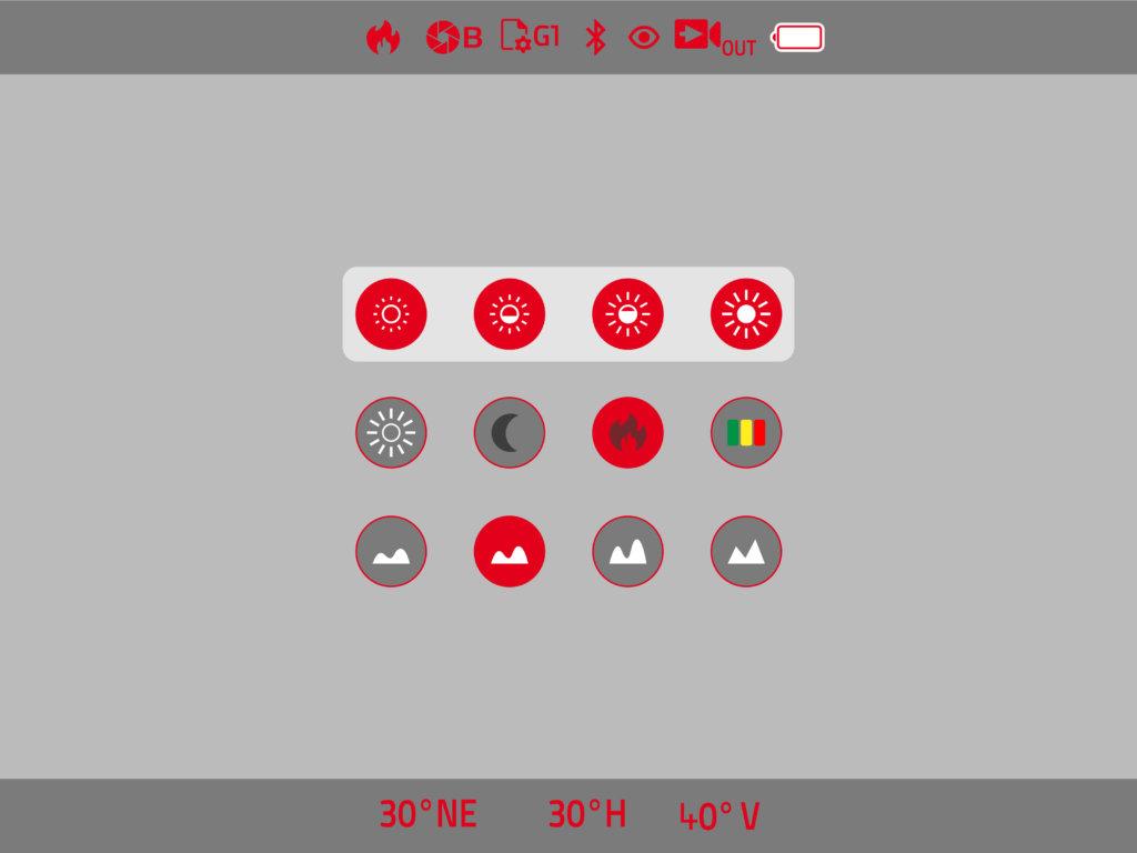 La schermata principale del menu del Calonox Sight. Luminosità, colore dell'immagine, contrasto.